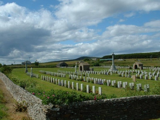 Royal Naval Cemetary at Lyness where the bodies recovered from the sinking of the Hampshire are buried.