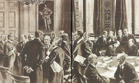 Asquith's coalition government 1915. Churchill is 4th from left;Kitchener has his back to the artist. To his immediate left is Bonar Law, with Asquith immediately in front and Lloyd George to Kitchener's right.