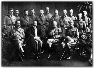 Milner (centre) seated with his military command in South Africa. Lord Roberts to his left and Sir John Hanbury-Williams at his right hand.