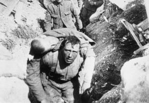 Somme injured being carried to a casualty station.