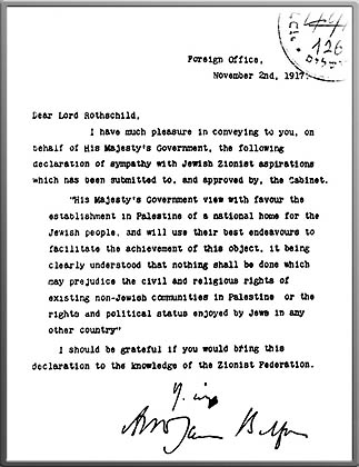 The short but historic note sent to Lord Rothschild now called The Balfour Declaration.