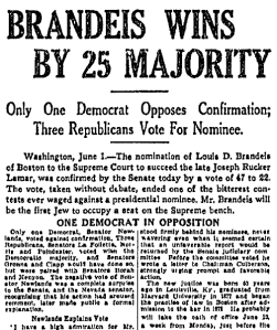 Boston newspaper greets Brandeis's eventual confirmation.