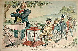 Puck Cartoon. Wilson asks why the immigrant wants a full vote when claiming to be only half American.