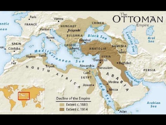 Map of Ottoman Empire shows the land mass around 1914 extending across the Middle East