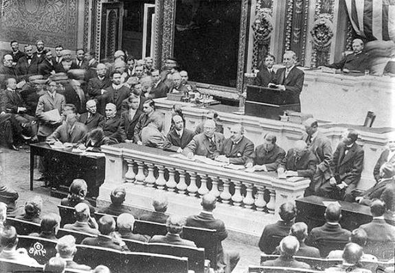 President Wilson addressing Congress.