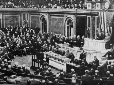 President Wilson addressing Congress 1917
