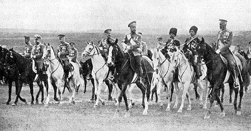 Czar Nicholas II with his army before the revolution.
