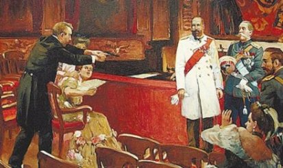 Depiction of Stolypin's assassination