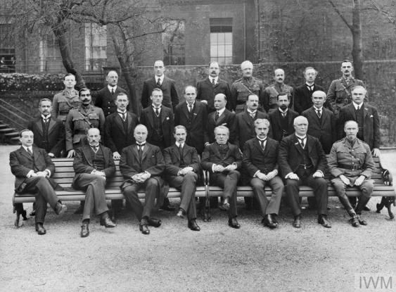 THE IMPERIAL WAR CABINET, 1 MAY 1917. (HU 81394) Group photograph of the Imperial War Cabinet members taken in the garden of No. 10 Downing Street. Front row (left to right Henderson (Minister without portfolio), Lord Milner (Minister without portfolio), Lord Curzon (Lord President of the Council), A Bonar Law (Chancellor of the Exchequer), David Lloyd George (Prime Minister of the United Kingdom), Sir Robert Borden (Prime Minister of Canada), W F Massey (Prime Minister of New Zealand ) and General Jan Smutts, South Africa.