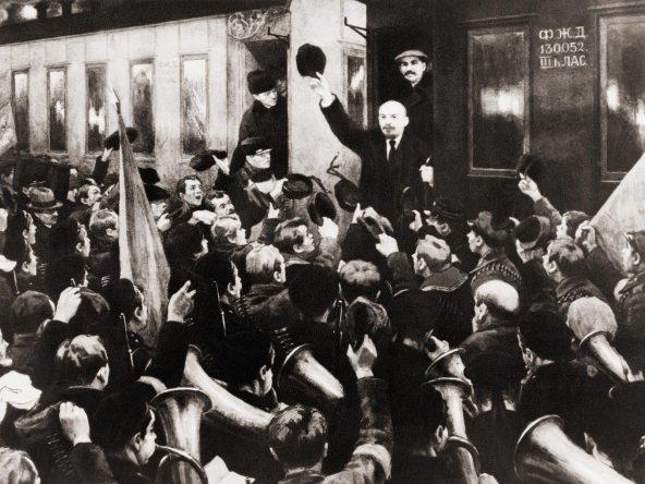 Lenin arrives at Finland Station ... a much 'refreshed' photograph.