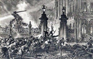 Painting of the attack on the Winter Palace in October / November 1917.
