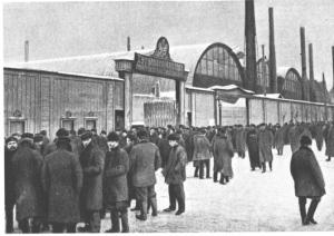 Workers outside the vast Putilov factories in St Petersburg.
