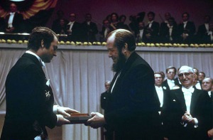 Alexander Solzhenitsyn receiving his Nobel Prize for Literature