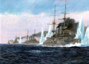 Depiction of the Japanese fleet at battle of Tshushima. The fleet was led by the British-built pre-dreadnought Mikasa.