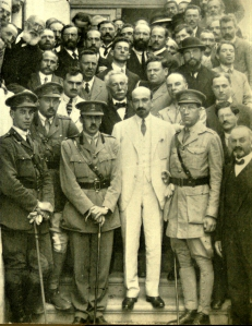 The Zionist Commission. Chaim Weizmann centre in white with Captain James de Rothschild to the right.