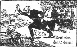 Erzberger became a target of hate. Here he is depicted in a cartoon, second figure standing, accused of stabbing the German army in the back.