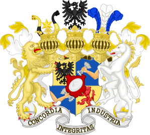 The Rothschild Coat of Arms indicating the five original strands of the family in London, Paris, Frankfurt, Vienna and Naples