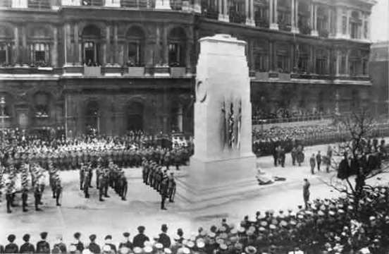 King George V unveiling the Cenotaph in Whitehall, London on 11 November, 1920.