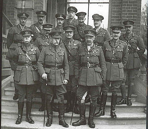 Haig surrounded by his army commanders. General Plummer, by all accounts a very capable officer stands front left.