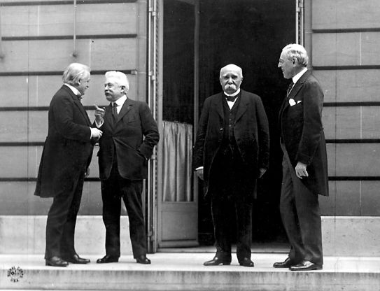 The Big Four at Versailles: From left to right, Lloyd George (Britain), Vittorio Emanuele Orlando (Italy), Georges Clemenceau (France) and Woodrow Wilson (United States).