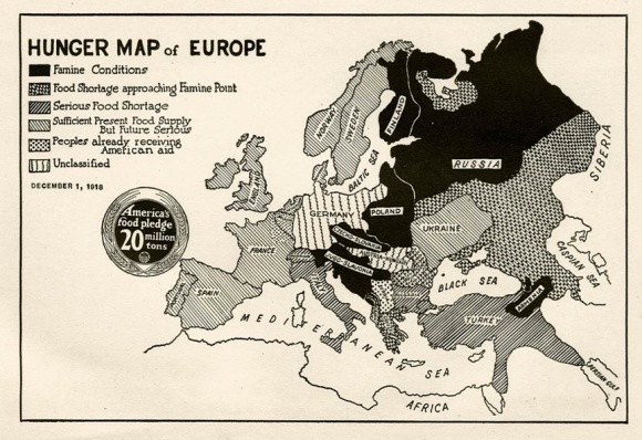 A Hunger Map of Europe dated 1 December, 1918