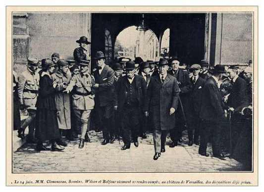 The men who fronted the early stages of the Versailles meetings, Clemenceau, Wilson and Balfour but it was the power behind them which called the tune.