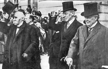 Presidents Clemenceau, Wilson and Prime Minister Lloyd George pleased with their Versailles triumph.