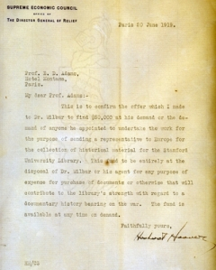Letter from Hoover to Adams committing 50,000 dollars to finance the theft of documents form Europe.