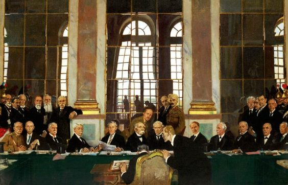 William Orpen's painting of the Signing ceremony in the Versailles Hall of Mirrors.